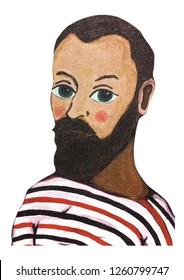 Henri Matisse portrait illustration acrylic color painting on canvas