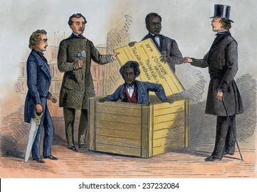 Henry Brown endured a twenty-six hours bent over in a 3' x 3' x 2' crate shipped by overland express from Richmond Virginia to Philadelphia in July 1856, Engraving with modern watercolor.
