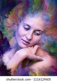 Her World series. Background composition of  female portrait fused with vibrant paint on the subject of feelings, emotions, inner world, creativity and imagination
