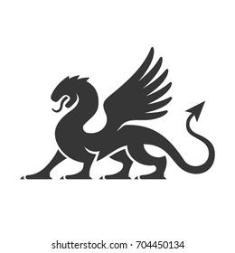 Heraldic Dragon Silhouette Logo.