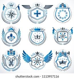 Set Vintage Emblems Created Decorative Elements Stock