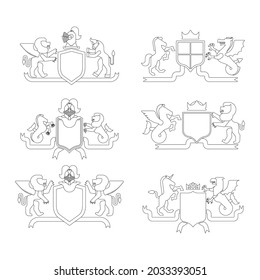 Heraldic Shield and Knight Helmet set linear style. Fantastic Beasts. Template heraldry design element. Coat of arms of royal family. Hippocampus  and lion. Dragon and wyvern. Pgasus and griffin.