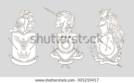heraldry emblem collection coat arms template stock illustration