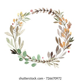 Herb watercolor green circle wreath with leaves. Floral frame, hand drawn round template. Illustration on white background.