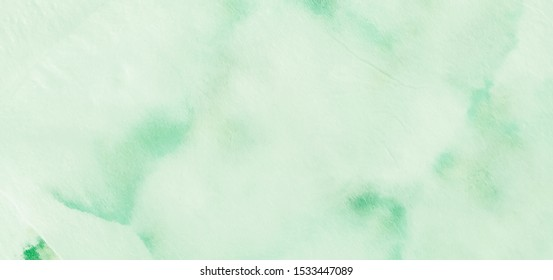 Herbal Concept. Organic Fluid Shapes. Artistic Dyed Brushstroke. Herbal Bio Style. Watercolor Background. Natural Biological Eco. Grassy Emerald Color. Hand Painting Fabric.
