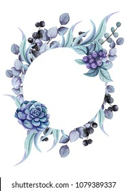 Herbal Frame with Light Blue Leaves, Black Berries and Succulent