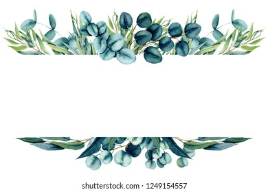Herbal Frame with Watercolor Eucalyptus Willow and True Blue