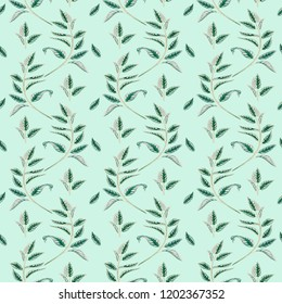 Herbal seamless pattern. Can be used for wallpapper, design, scrapbooking and other objects. Botanical art.