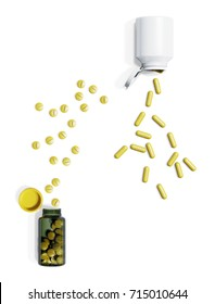 Herbal Supplements Bottles on White Background. 3D illustration