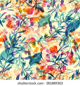 herbs, flowers, leaves and berries. abstract watercolor and digital imprints. hand drawn boho seamless pattern - mixed media artwork for textiles, fabrics, souvenirs, packaging and greeting cards.