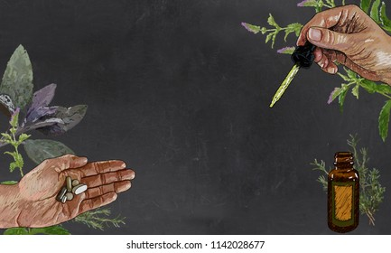 Herbs and Medicine on Blackboard with Blank Space for Writing