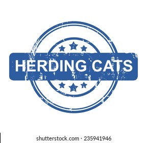 Herding Cats business concept stamp with stars isolated on a white background.
