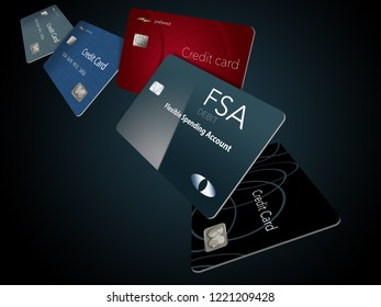 Here is a Flexible Spending Account debit card shown with credit cards in the background. It is also known as an FSA debit card.