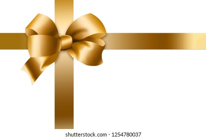 Here is a gold bow and ribbons isolated on a white background. This is an illustration.