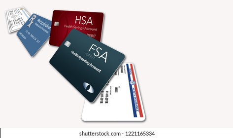 Here is an illustration with five of the healthcare insurance cards you might be carrying: Medicare, Medicaid, HSA, FSA, Rx discount, Rx supplemental, medical supplemental, Rx insurance, dental