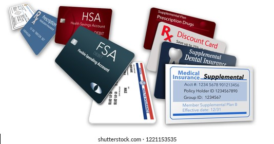 Here is an illustration with nine of the healthcare insurance cards you might be carrying: Medicare, Medicaid, HSA, FSA, Rx discount, Rx supplemental, medical supplemental, Rx insurance, dental
