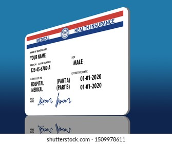 Here is a mock, generic, 2020 Medicare Health Insurance card. It does not use the word Medicare on the card but resembles a real Medicare card. The signaure on the card says: Lorem Ipsum