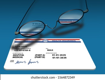 Here is a mock, generic, 2020 Medicare Health Insurance card and a pair of wire rimmed eye glasses.