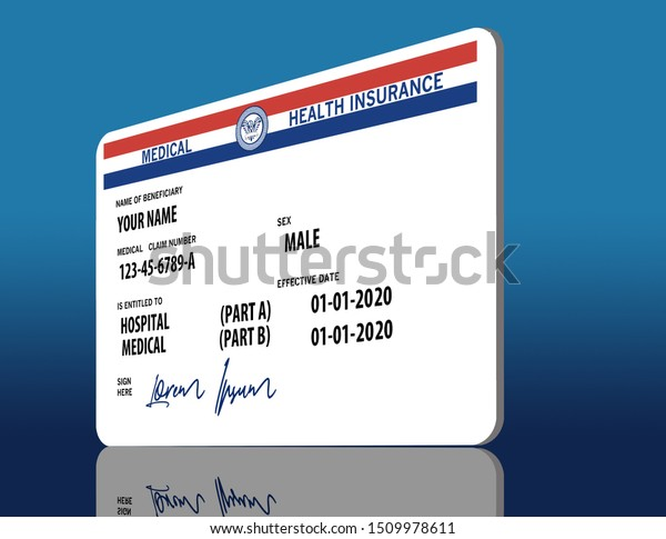 New Medicare Card 2020.Here Mock Generic 2020 Medicare Health Stock Illustration