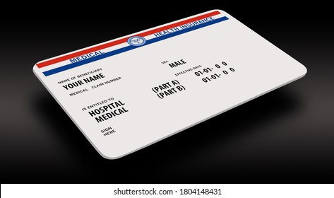 Here is a mock generic government medicare medical insurance card isolated on a white background and is a 3-D image.