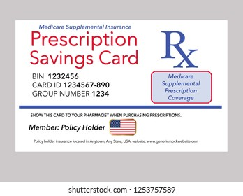 Here is a mock, generic Medicare prescription supplemental insurance card. This is an illustration.