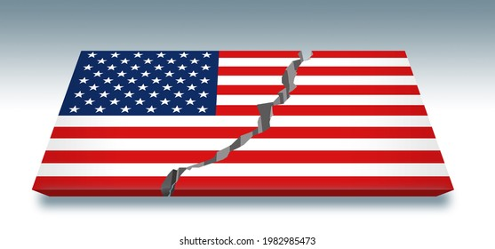 Here is a USA flag that has been split down the middle by a crack. Americans discuss the growing divide in USA politics.This is a 3-d illustration.