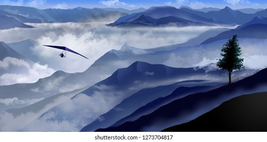 Here is a view of heavy fog in valleys and mountains in shades of blue extending out of the fog. A person on a hang glider flies above clouds. This is an illustration.