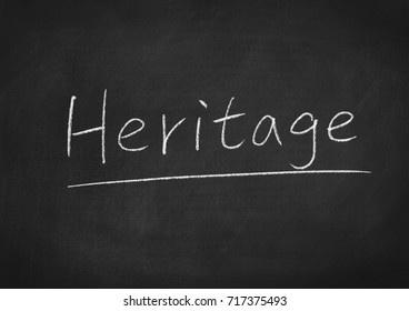 heritage concept word on a blackboard background