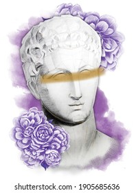 Hermes head statue with a purple pionies flowers on a white background. Hand draw illustration. Greek god