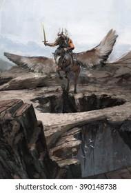 Hero riding Pegasus above mouthiness