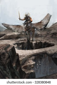hero riding Pegasus over canyon