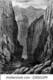 Heroes of Afghanistan. Khyber Pass, vintage engraved illustration. Journal des Voyages, Travel Journal, (1879-80).