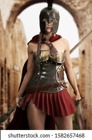 Heroic Spartan female stands ready for battle equipped with a spear and sword. 3d rendering