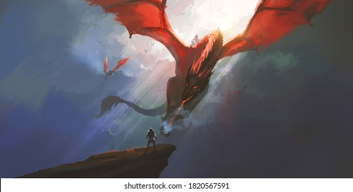 The heroic warrior bravely faced the dragon, digital painting.