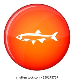 Herring fish icon in red circle isolated on white background  illustration