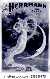 Herrmann the Great, Herrmann's Beautiful Illusion - Maid of the Moon, by The H.C. Miner Lithograph Company, New York, poster, 1898.