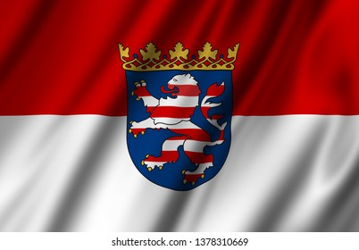 Hesse waving flag illustration. Federal state of Germany. Perfect for background and texture usage.