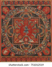 HEVAJRA MANDELA, Tibetan, Buddhist, 15th c., painting, distemper on cloth. Hevajra is one of the main yidams in Tantric, or Vajrayana Buddhism. Hevajra and his consort, Nairatmya, dance at the inters