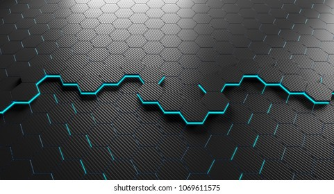 hexagon carbon fiber background 3d rendering image