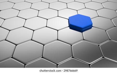 hexagon concept blue silver 2