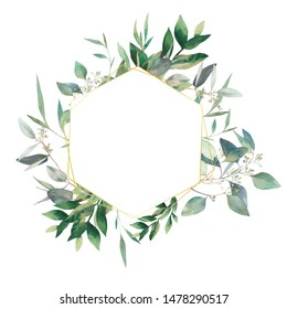 Hexagon eucalyptus frame. Hand drawn flowers card design with green leaves, branches. Greeting or wedding template.