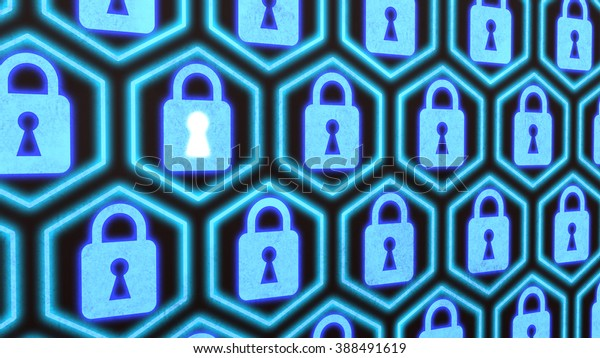 Hexagon locks security concept security concept on a wall with blue padlocks in a row composed in hexagons