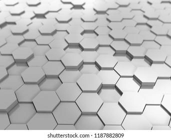 Hexagon pattern 3d metal background