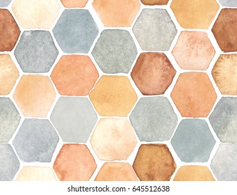 Hexagon pattern hand-drawn with watercolor in orange and gray