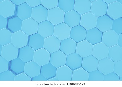 Hexagon pattern. Honeycomb texture. Abstract blue background. 3d rendering.