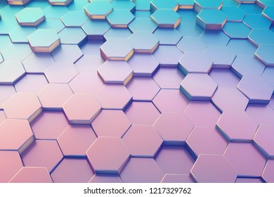 Hexagon pattern. Honeycomb texture. Abstract holographic background. 3d rendering.