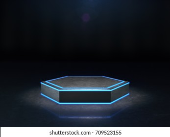 Hexagon Pedestal for display,Platform for design,Blank product stand with light glow.3D rendering.