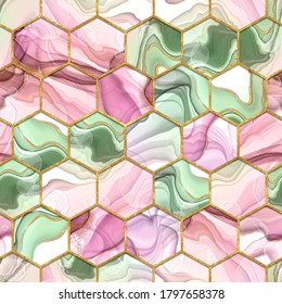 Hexagon seamless texture. Abstract pink and green trendy background