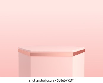 Hexagon shape of product display, Pink and rose gold color, Luxury and minimal concepts, Stage, Stand, Podium, Backdrop, 3D Rendering.