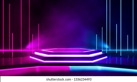 Hexagon stage with smoke and purple neon light, abstract futuristic  background, ultraviolet concept, 3d render